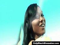 Kayla Biggs strokes her long black meat