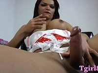 Hot Busty Latina tranny show off her big tits then jerk off