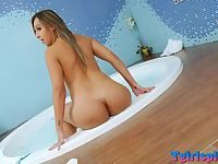 Horny petite blonde tgirl with big ass jack off her shestick