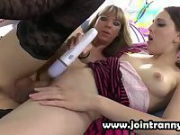Stockings tranny performs