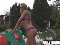 Shemale babe Paola Lima tugs on her cock outdoors