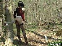 Crossdresser in forest