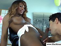 Black nubian shemale blows white cock