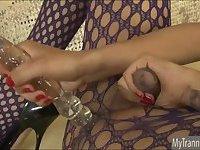 Big tits TS Jamie Page anal masturbation
