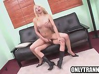 Blonde shemale gets fucked hard anally by a horny tranny