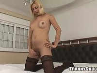 Blonde tranny wanks off