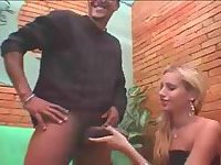 Blonde tranny chick sucks before anal screwing