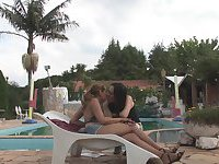 Shemale fucks girl poolside outdoor
