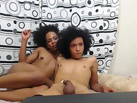 Two incredible cute lesbian ts cum from love