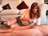 Redhead crossdresser teases masters big cock with vibrating toy making him spunk