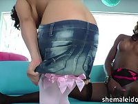 Ebony tranny Chanel Couture fucked a hot chicks pussy and facialized