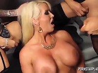 Super titty blonde bitch works with three tgirls