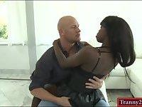 Ebony tranny anal fucked by white cock