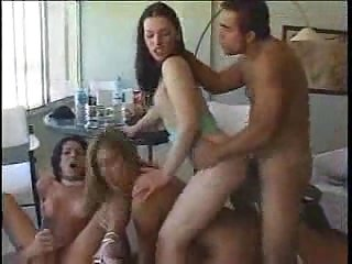 Group sex with a longhaired tranny