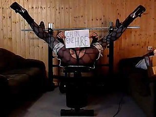 Hogtied German Crossdresser Masturbates