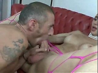 Pink Fishnet Tranny Fucks & Fucked