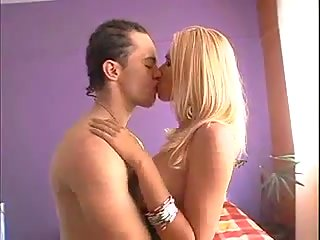 Beautiful blonde tgirl and guy fuck each other
