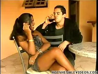 Flat chested Latina trans stuffing