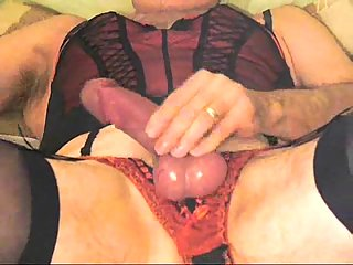 Piquant Crossdresser Playing His Cock