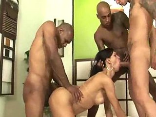 Double Penetrated TS Asshole In Orgy