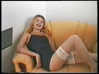 Blonde TS oral & anal sex