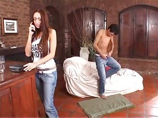 Big balloons horny shemale appeases her teen lover