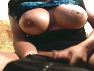 Charming busty tranny masturbating & fucking guy