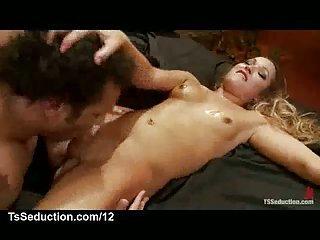 Guy fucks tranny and suck her shaved dick and fingers her ass