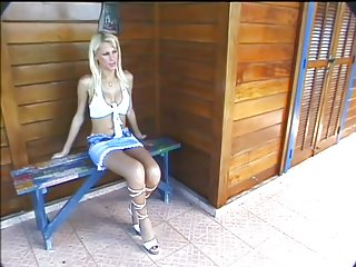 Sweet blonde getting banged outside