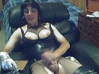 Smoking crossdresser by webcam