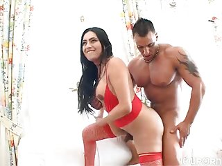 Puffy brunette in red getting ass fucked
