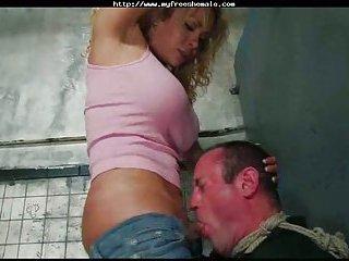Hot Gia bonks bound man in throat deep