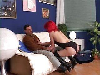 Redhead cute slut in action