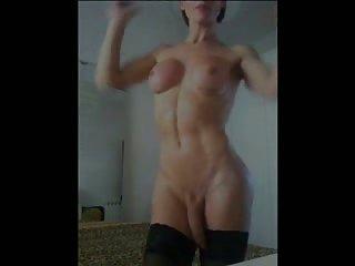 Brunette slut teasing on cam