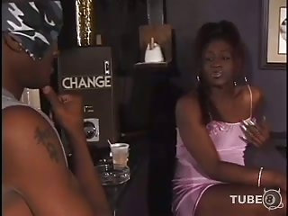 Black Tgirl drills her bf in a pub