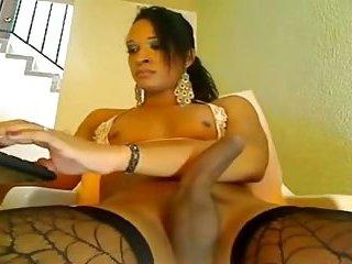 Pretty shemale masturbating her cock