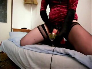 Polish crossdresser has a fun on bed with toy