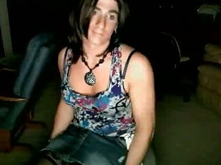 Cute College Crossdresser Stroking it on Webcam