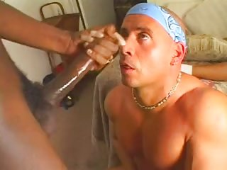 Horny guy drilled by ebony trannies
