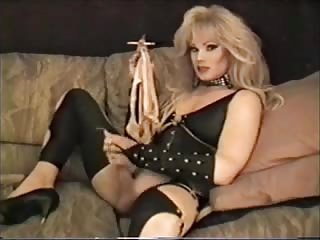 Cool blonde tranny smokes & masturbates