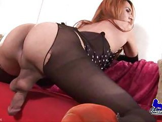 Shy tgirl has a huge cock to long for
