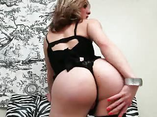 Busty Blonde In Stockings Jerking Off