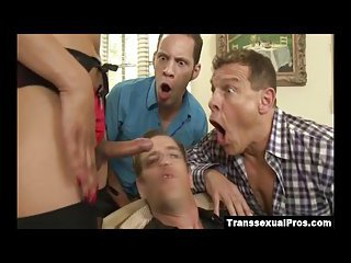 TS Jessica gangbanged by three horny guys