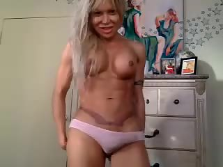 Amateur blonde TS cock wanking on webcam