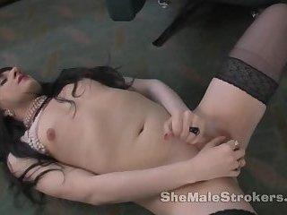 Violet cock stroking