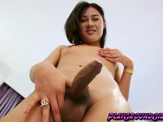 Sweet tranny babe Tongta goes all out