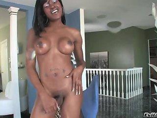 Black tranny jerks of her big pole