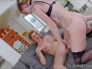 Awesome threesome with busty blonde chick