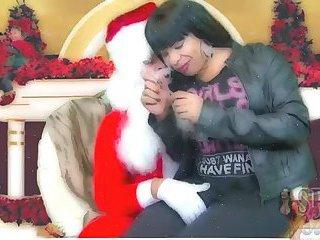 Santa eats Tgirls prick
